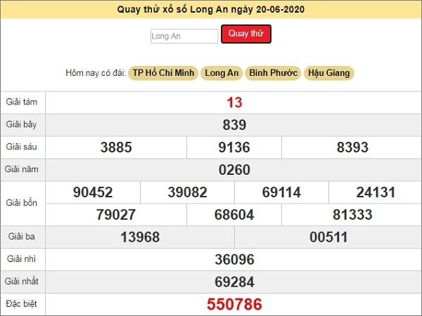 Quay thử kết quả xổ số miền Nam Long An ngày 20/6/2020 thứ 7