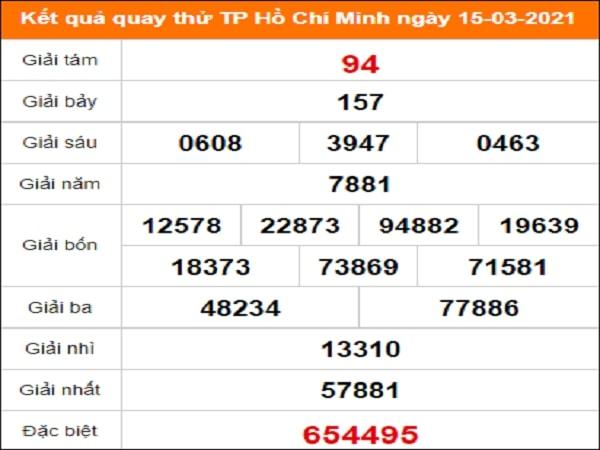 Quay thử kết quả xổ số Hồ Chí Minh ngày 15/3/2021